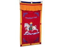 Red WindHorse Embroidery Tibetan Buddhist SpunSilk Door Curtain