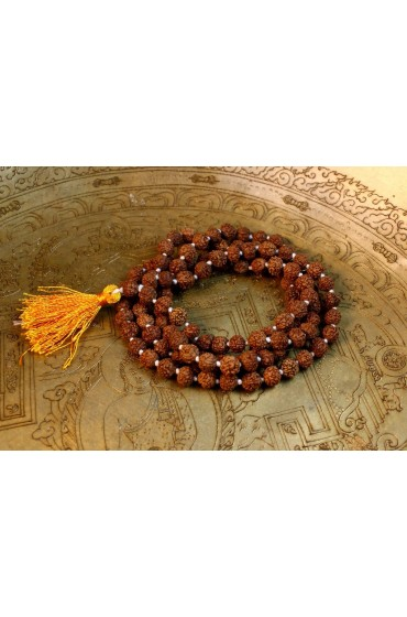 Dark Rudraksha Knotted Prayer Mala