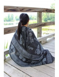 OM Yoga Black Cotton Shawl