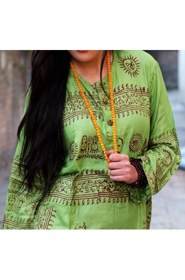 Green Om Prayer Kurtha Shirt