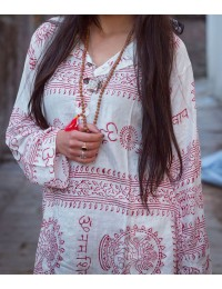 White With Red Om Kurtha Shirt