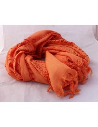 Orange Print Om Yoga  Cotton Prayer Scarf