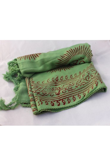 Green Print Om Yoga  Cotton Prayer Scarf