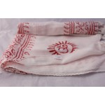 White with Red Print Om Yoga Cotton Prayer scarf