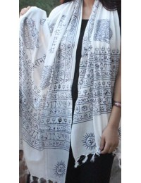 White with Black Print Om Yoga  Scarf