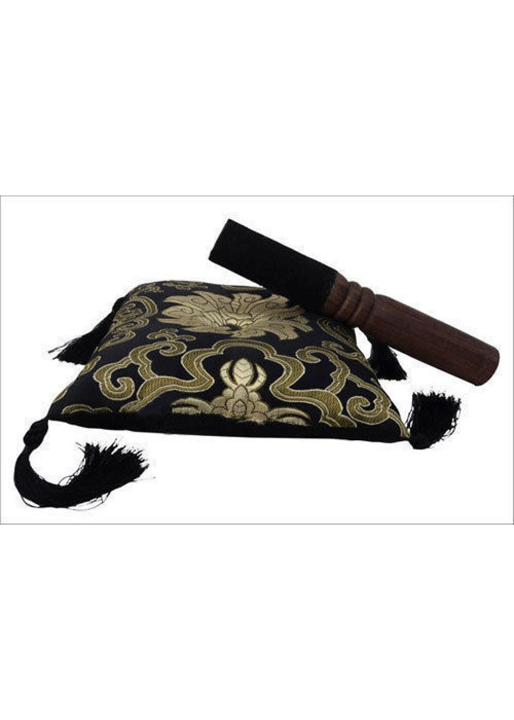 Tibetan Singing Bowl Black Cushion Cover With Striker