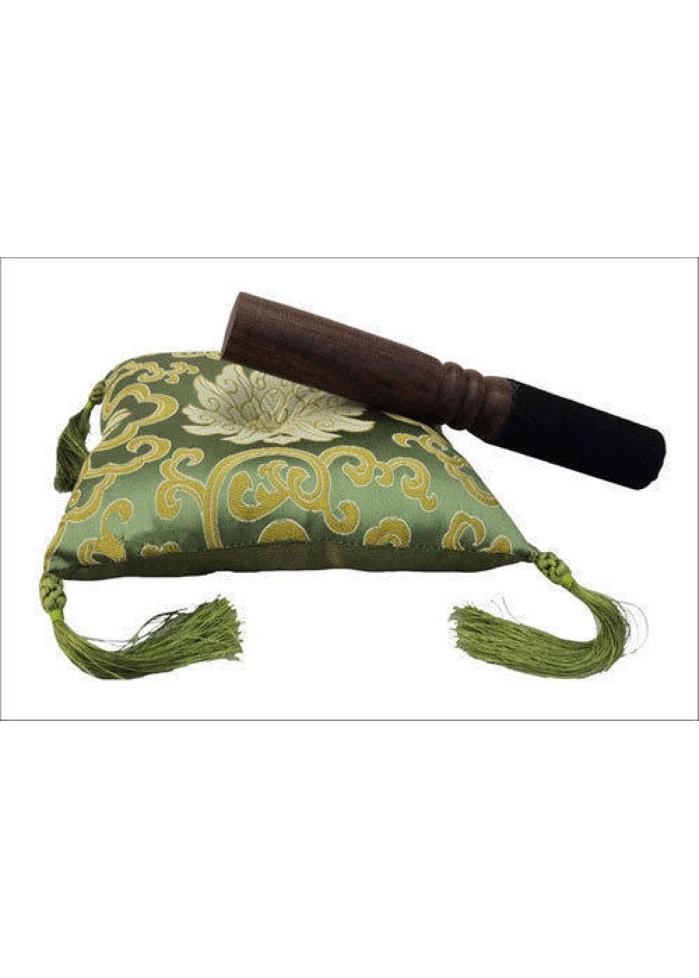 Tibetan Singing Bowl Light Green Cushion Cover With Striker