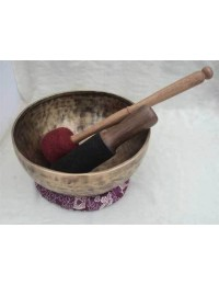 8.65 Inch Hand Hammered Plain Antique Singing Bowl for Meditation