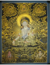 "White Tara Handpainte​d Thangka Painting(16""x22"")"