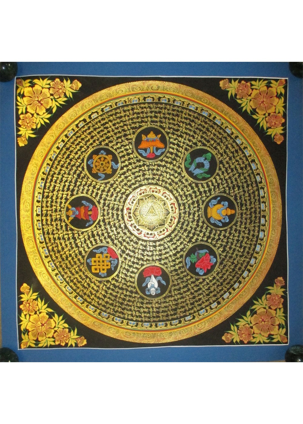 """Mantra with Eight Auspicious Handpainted Thangka Painting(20""""x20"""")"""