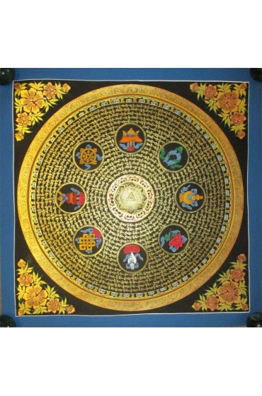 "Mantra with Eight Auspicious Handpainte​d Thangka Painting(20""x20"")"