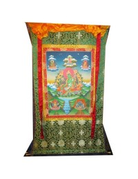 Green Tara Brocade Thangka Painting