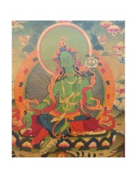 Tibetan Hand Painted Wooden Green Tara Wall Hanging