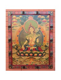 Tibetan HandPainted Wooden White Tara Wall Hanging